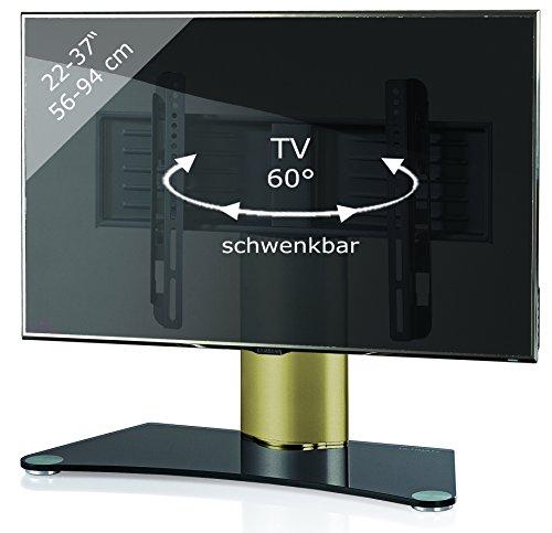 VCM TV Standfuß Tischfuß TV Fernseh Aufsatz Fuß Erhöhung Schwenkbar Schwarzglas 56 x 70 x 30 cm