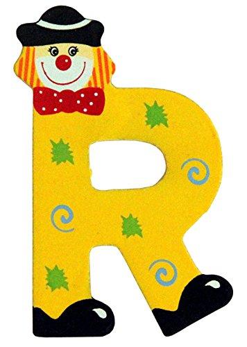 Holzbuchstaben und Zahlen- Clowns - mit Klebepad in zufälliger Farbe - Rimini Baustoffe® - Ideal für Türen und Schränke (Buchstabe R)