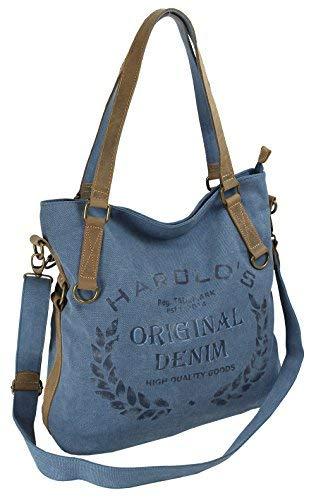 Damen Umhängetasche aus Canvas und Leder - Große Vintage Schultertasche in Shopper-Form für Frauen (4540) (Blau)