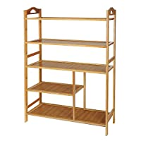Hapilife Shoe Rack, 5 Tier Bamboo Shoe Rack Storage Organiser Entryway Shoe Shelf 68 x 25.5 x 68cm Made of 100% Natural Bamboo