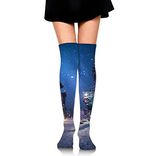 HRTSHRTE Clear Christmas Tree Snow Covered Street Lamp Wreath Street Light Ankle Stockings Over The Knee Sexy Womens Sports Athletic Soccer Socks -