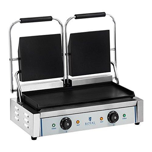 Royal Catering RCKG- 3600-F Doppel Kontaktgrill Sandwichmaker Tischgrill (Glatt, 2 x 1.800W, 300°C,...