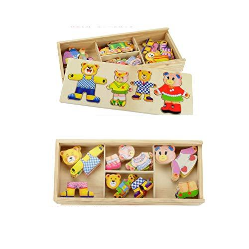 ZMH Kleiner Bär Ändern Kleidung Kinder Frühe Bildung Hölzerne Puzzle-Dressing-Spiel Baby Holz Puzzle Spielzeug