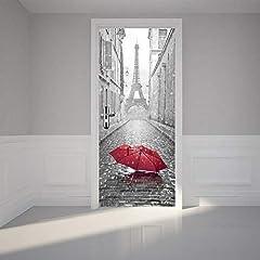 Idea Regalo - Wallflexi Porta murale Torre Eiffel Home Decorazione da Parete murale Decalcomanie Soggiorno cameretta Ristorante Hotel Café Office Décor Rimovibile Autoadesivo Adesivi, Multicolore
