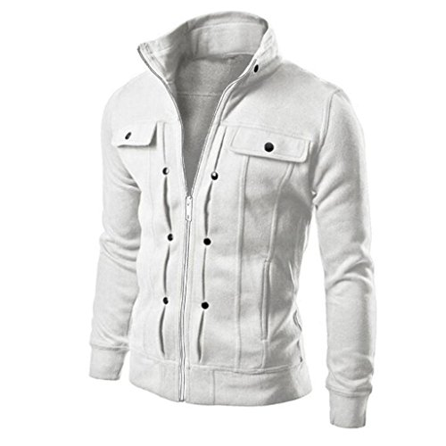 Bestop New Mens Full Zip Warm Crosshatch Jacket Layer Button Winter Coat Cardigan (2XL, White)