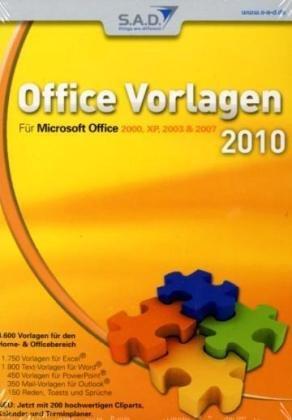 Office Vorlagen 2010, DVD-ROM Für Microsoft Office 2000, XP, 2003 & 2007. 4.600 Vorlagen für Home- & Officebereich. Für Windows 98/ME/2000/XP und Vista