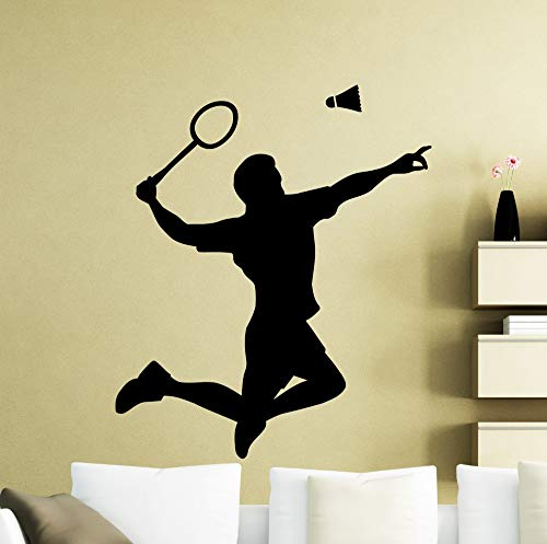 zhuziji Badminton Player Wall Decal Living Room Art Mural Shuttlecock Racquet Pattern Jumping Wall Stickers Sport DIY 63x57cm -