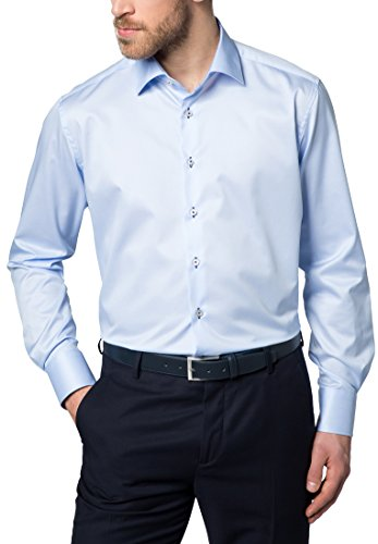Eterna Long Sleeve Shirt Modern Fit Twill Uni azzurro chiaro