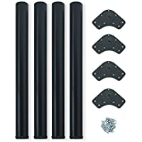 Emuca 2034514 - Pies de mesa regulables, acero pintado, Negro, Diámetro de 60 mm, Altura Regulable de 710-730 mm