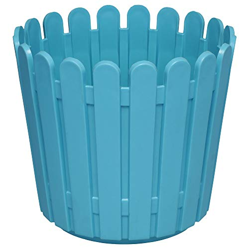 Sampada Synthetics Bauzooka Plastic Sky Blue, Yellow, Green, Red Round Garden Fence Pot for Home Decor - Pack of 4