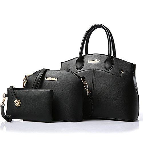 fanhappygo Damen Handtaschen PU Leder Leder Handtaschen Schulter Wallet Geldbörse Beutel Tote Schultaschen Messenger Bags Schwarz