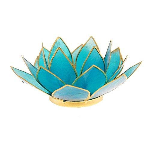 Porte Bougie Fleur de Lotus Bleu et or 5 ème chakra