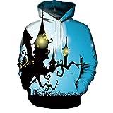 UFACE Paar Herbst/Winter Halloween 3D-Druck mit Kapuze Langarm-Pullover Casual Herbst Winter 3D Druck Halloween Hoodies Sweatshirt Bluse(E,3XL)