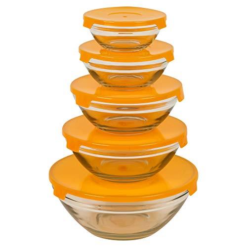 Juego de 5 cuencos de cristal con tapas, para almacenamiento de alimentos, apto para microondas, lavavajillas y congelador, disponible en 3 colores naranja