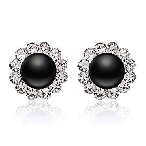 EVBEA Clip Ohrringe Mädchen Schwarzer Vintage Kunst-Perlen-Clip auf Ohrring Damen Fashion Kristall-Diamant-Blume Ohrring für Frauen mit Geschenk-Box