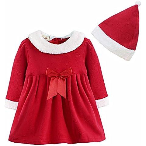 FEESHOW Las niñas de Navidad de Santa Claus vestido del traje del Bowknot con el sombrero Equipos SZ 12 Meses-3años
