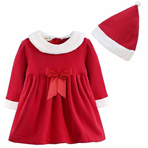 FEESHOW Baby Kinder Costume Kleid Weihnachten Hochzeit Weihnachtsmann Santa Claus Cosplay Kostüm für Mädchen Partykleid Girl Dress mit Hut Rot Rot 80-86/12-18 (Santa Babys Für Kleider Claus)