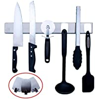 Na Cuisine Porte-Couteaux Magnétique 40 cm - avec 3 Crochets pour Ranger des Ustensiles en Plastique ou Silicone…