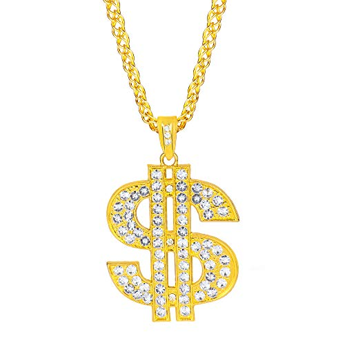 Beelittle Hip Hop Rapper Goldkette Zubehör Cuban Faux Gold Modeschmuck Seil Kette Halskette (A)