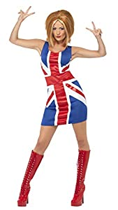 Smiffys-29540L Disfraz de Ginger Power, Icono de los 90, con Vestido de Bandera británica, Color Rojo y Azul, L-EU Tamaño 44-46 (Smiffy