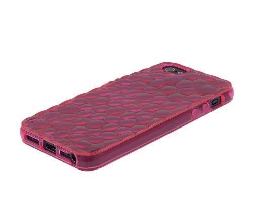 Xcessor Liquid Cell - Flexible TPU Schutzhülle für Apple iPhone SE / 5S / 5 mit Optical Illusion Bubble-Effekt. Rosa / Semi-Transparent Pink / Transparent