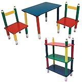 BLEISTIFT Kindermöbel Holz Set aus Maltisch mit 2 Kinderstühle und Kinderregal