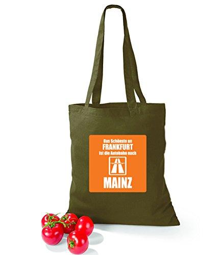 Artdiktat Baumwolltasche Das Schönste an Frankfurt ist die Autobahn nach Mainz yellow olivegreen