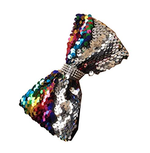 Women's Accessories Multicoluor Rainbow Sequin Sparkle Side Bow Wrapped Alice Hair Headband