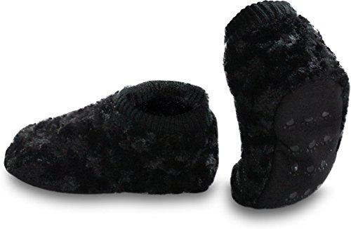 Damen-Fleece-Hausschuhe mit rutschfester Sohle und Bommeln am Schaft Fell-Homesocks/Schwarz