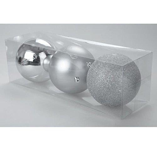 Set de 3 boules de décoration Noël 12 cm argent