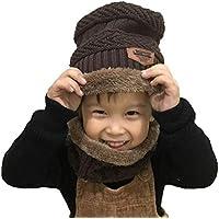 Boomly Bébé Bonnet à Tricoter Écharpe Tube Doublure en Polaire Douce Chapeau  d hiver Chaud d3b91496c39