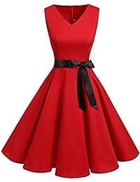 Bridesmay Robe de Soirée Cocktail Vintage Rétro Années 50 Style Audrey Hepburn Rockabilly Swing Col en V sans Manche