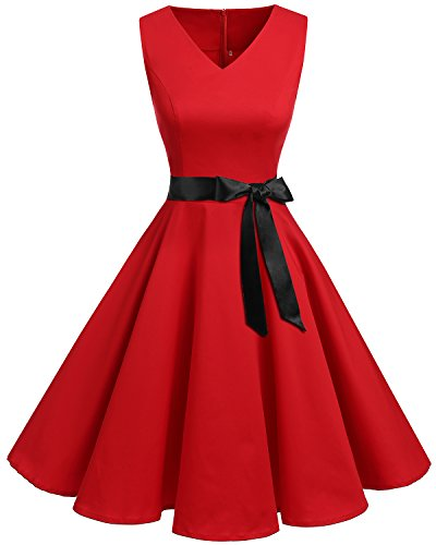 Bridesmay Donna Anni '50 Abiti Vintage V-Neck Retro Cocktail Audrey Vestito Red XL
