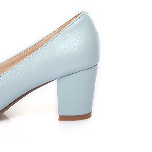 AgooLar Damen Mittler Absatz Rein Ziehen Auf Rund Zehe Pumps Schuhe Blau