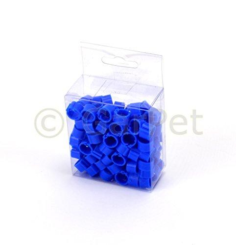 Preisvergleich Produktbild Clipsringe Hahn Küken Hühner Vögel Enten Ring Ringe Kunststoff 8 12 16 mm 100 St (8mm, blau)