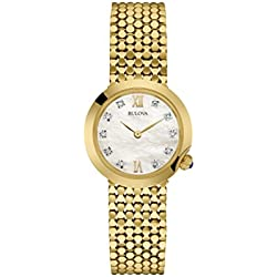 Bulova Ladies Women's Designer Diamond Watch Bracelet - Gold Wrist Watch 97S114