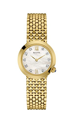 Bulova Ladies Women's Designer Diamond Watch Bracelet - Gold Wrist Watch 97S114