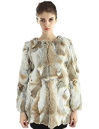 Bellerfur Natural Conejo real chaquetas largas piel de las mujeres abrigos de invierno con la manga larga