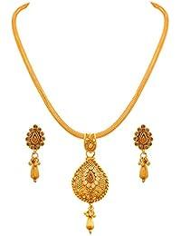 JFL - Traditional Ethnic One Gram Gold Plated Diamond Designer Pendant Set For Women And Girls - B073VNCQFX