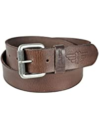 Police Mens Leather Buckle Closure Casual Belt