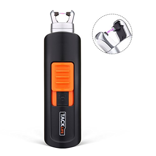 Feuerzeug, Tacklife-ElY03 Lichtbogen Feuerzeug, USB-Elektro-Feuerzeug, 220 mAh, 400 Male pro Ladung, Flammlos, Winddicht, Wiederverwendet, Lange Lebensdauer, mit USB-Kabel