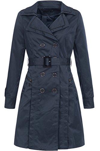 Trenchcoat | Übergangs Jacke | Kurz-Mantel für Damen F327TR - edler Übergangsmantel mit Doppelreihiger Knopfleiste in Navy, Gr. XL