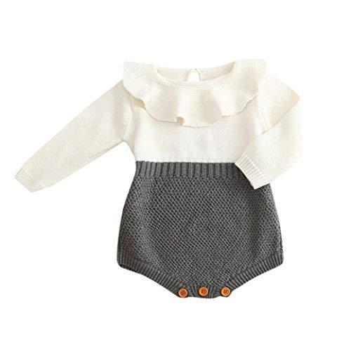 BeautyTop Kleinkind Neugeborenen Mädchen Baby Gestrickten Pullover Winter Warme Prinzessin Strampler Overall Kleidung Outfit (Grau, 80/6-12 Monate)