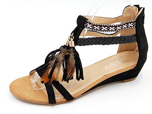 Etno Boho Style Zeppa Sandalo Con Frangia Piuma Frangia Perline Di Legno Festa Delle Donne (8458) Nero