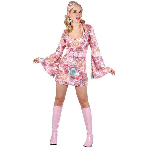 Retro 60er Minikleid Pink Blumenprint Karneval Verkleidung Halloween Kostüm M