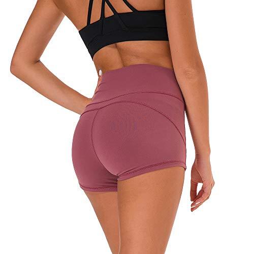 SKYSPER Damen Sporthose Kurz Fitness Shorts Hot Pants Hose Schnell Trocken Fitnesshose Yogahose Hohe Elastizität S-L (Hot-yoga-pants)