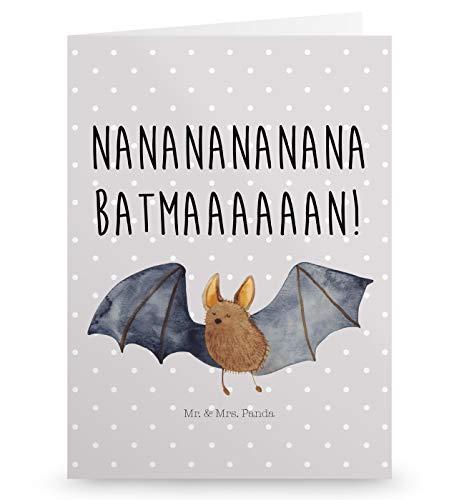 Mr. & Mrs. Panda Grußkarte Fledermaus Fliegend - Fledermaus, Fledermäuse, Batman, Grusskarte, Klappkarte, Einladungskarte, Glückwunschkarte, Hochzeitskarte, Geburtstagskarte