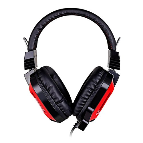 Hmeng Auriculares, Gaming Headset sobre el oído de 3,5 mm con cable de juego de auriculares con micrófono HIFI-Surround Sound trenzado con conexión de cable de luz LED