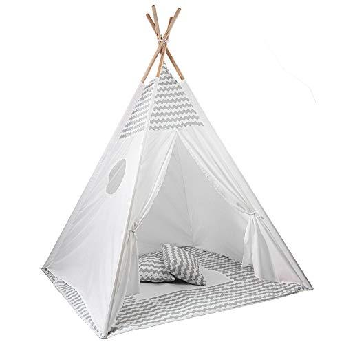 Skojig Spielzelt inkl. Boden & Kissen - 160x120x120 Indianerzelt für Kinderzimmer oder im Garten | Kinderzelt Tipi Zelt - Lieferung mit Tragetasche -