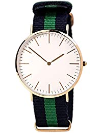 White Dial Blue & Green Canvas Strap Mens Watch Analogue Quartz Round Dial Watch For Men For Boys